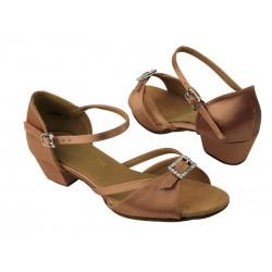 Dětské taneční boty  VF dětské mod.1720 Tělový brown satén 3,5cm kostka