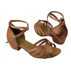 Dětské taneční boty  VF dětské mod.6005 Tělový brown satén 3,5cm kostka