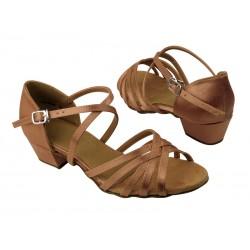Dětské taneční boty  VF dětské mod.1670 Tělový brown satén 3,5cm kostka