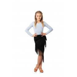 Skirt LA wrap fringed 2 nero