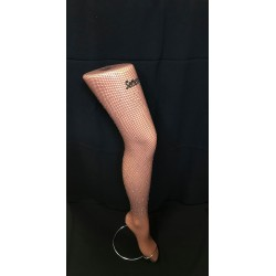 Fishnet tights with rhinestones - dark brown