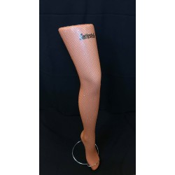 Fishnet tights with rhinestones - brown