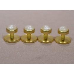 Frakové knoflíčky košilové sada 4ks zlaté s perletí